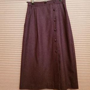 VINTAGE Plum Wool Button Down Pencil Skirt